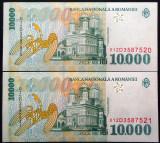 Lot/Set 2 Bancnote Serii Consecutive 10000 Lei- ROMANIA, anul 1999 *cod 228 UNC