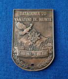 Placheta Batalionul 20 - Vanatori de munte - tema militara - medalie