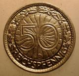 2.459 GERMANIA WEIMAR 50 REICHSPFENNIG 1928 D, Europa, Nichel