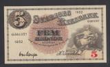 A2750 Sweden Suedia 5 kronor 1952 UNC