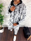 Trening barbati alb cu imprimeu negru PREMIUM - Bluza + Pantaloni - A2253, L, M, Nocciola