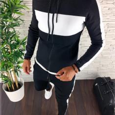 Trening barbati negru cu gri PREMIUM - Bluza + Pantaloni - COLECTIE NOUA - A1509, L, M, S, XL, Din imagine