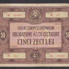 Bon Obligatiune CEC 50 lei 2