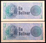Lot/Set Bancnote 1 BOLIVAR - VENEZUELA , SERII CONSECUTIVE+NECIRCULATE  *cod 260