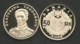 ROMANIA   50  BANI  2017 ,  ECATERINA  TEODOROIU ,  PROOF ,  in capsula, Alama