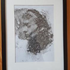 Tablou acuarela pe hartie milimetrica - portret, Portrete, Abstract