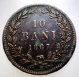2.555 ROMANIA 10 BANI 1867 HEATON, Cupru (arama)