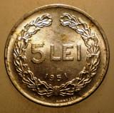 2.562 ROMANIA RPR 5 LEI 1951 XF, Aluminiu