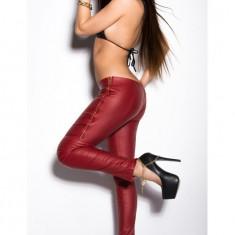 Pantaloni Mulati model Piele Ecologica cu Fermoare Metalice