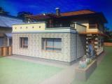 Casa semifinisata stil mediteranean cu utilitati,fantana,anexe si gadina