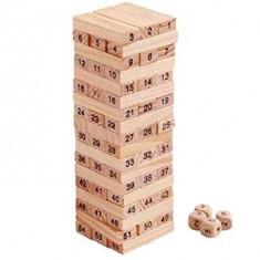 Joc blocks Set de 54 buc blocuri din lemn jucărie numerotate cărămizi