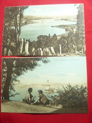 2 Ilustrate Constantinopol- Cimitir Turc si Turnul Leandru ,inc.sec.XX Ed.Azikri foto