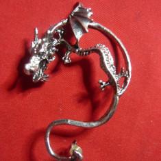 Cercel -Dragon ,metal inox , 6x4 cm