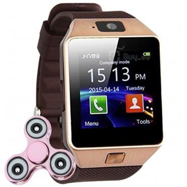 Ceas Smartwatch iUni DZ09 Plus, BT, Camera 1.3MP, 1.54 Inch, Auriu + Cadou Spinner MediaTech Power foto