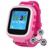 Ceas GPS Copii iUni Kid90, Telefon incorporat, Buton SOS, BT, LCD 1.44 Inch, Roz + Cadou Spinner MediaTech Power