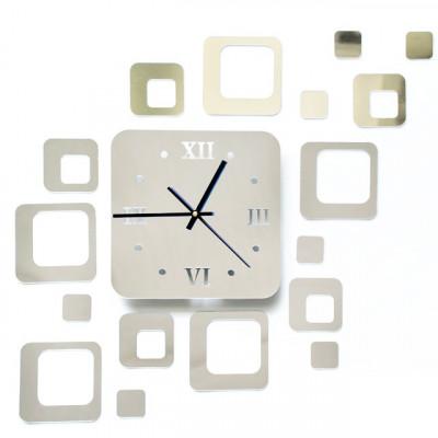 Ceas de perete modern 3D cu efect de oglinda, forma patrat, culoare Argintiu foto