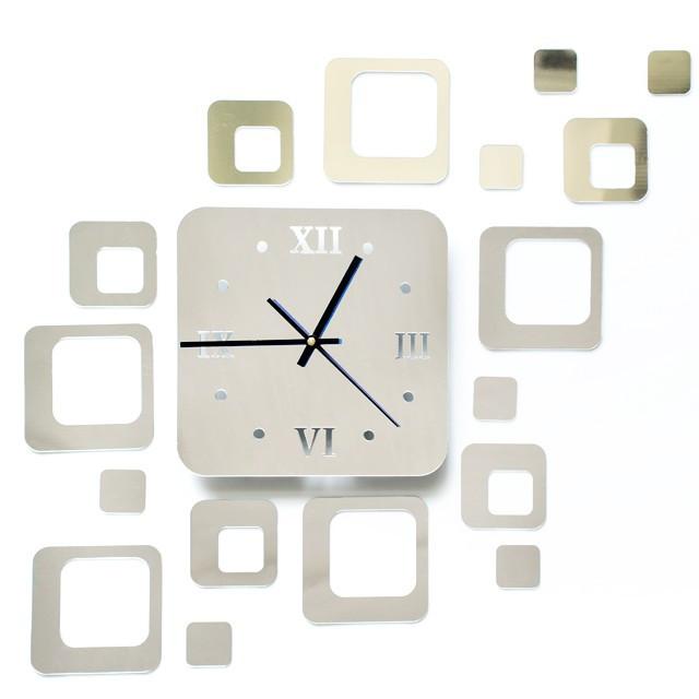 Ceas de perete modern 3D cu efect de oglinda, forma patrat, culoare Argintiu