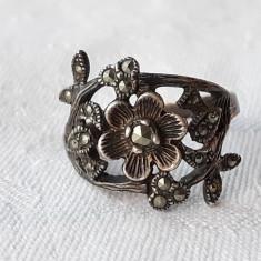 INEL argint FLOARE batuta in Marcasite VECHI delicat AUSTRIA 1900 VIENEZ finut
