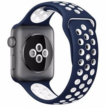 Curea pentru Apple Watch 38 mm Silicon iUni Albastru-Alb MediaTech Power foto