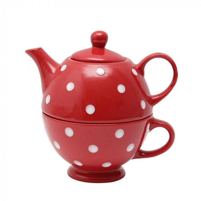 Ceainic cu cana din ceramica rosie cu buline albe Funny Gift
