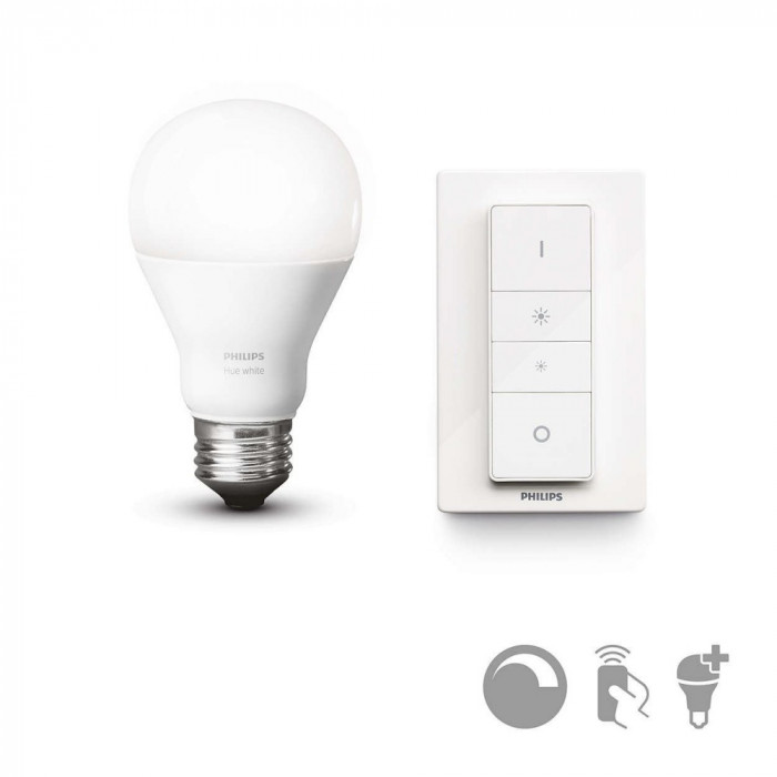 Iluminat Inteligent Smart Home Kit telecomanda wireless si Bec LED Philips Hue, 9,5W, forma A60 (normala), dulie E27 Control Wireless