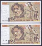 Bancnota Franta 100 Franci 1985 - P154b UNC ( set x2 serii consecutive )