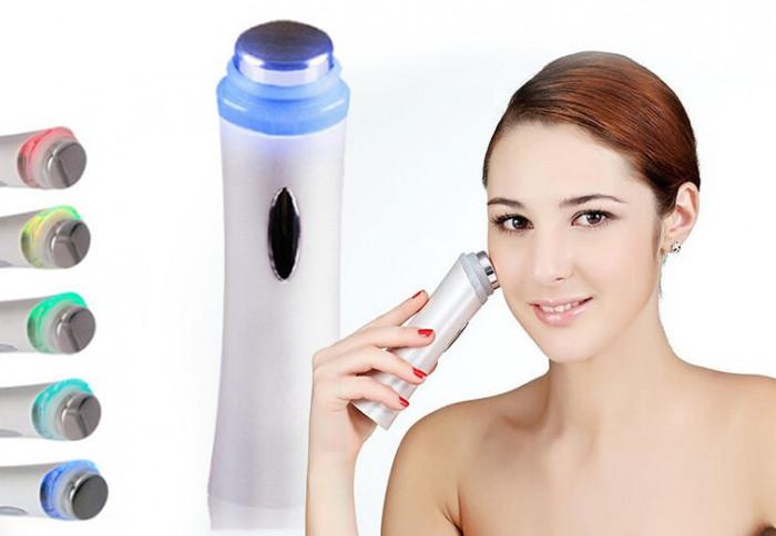 Aparat wireless de masaj facial si tratamente cosmetice de infrumusetare cu ultrasunete 3.6W, culoare Alb foto mare
