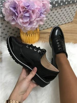 Pantofi dama negri luciosi oxford marime  39, 40+CADOU foto