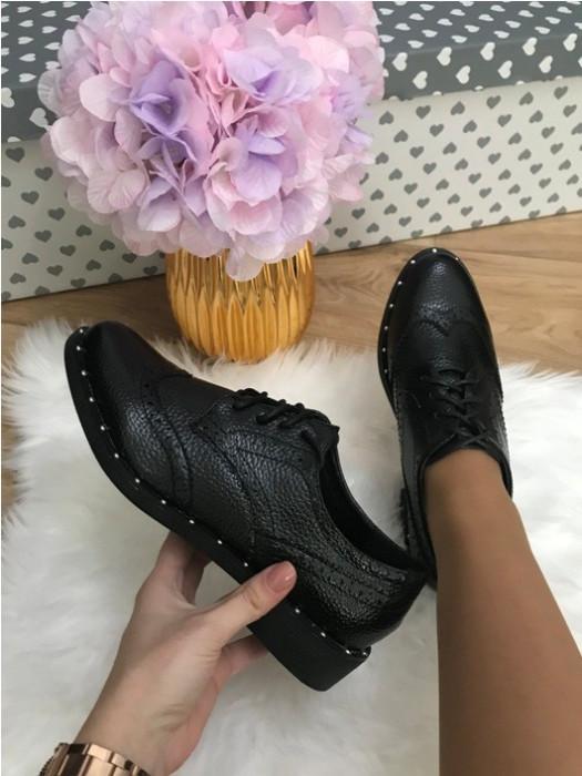 Pantofi dama oxford negri marime  38, 39, 40+CADOU