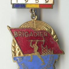 1959 - BRIGADIER AL MUNCII PATRIOTICE - Insigna RPR - Email - Superba