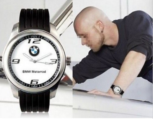 Ceas model BMW motorrad curea silicon negru cadran alb cutie cadou