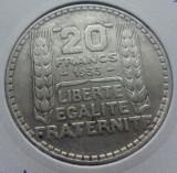 (A414) MONEDA DIN ARGINT FRANTA - 20 FRANCS 1933, 20 GRAME, Europa