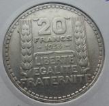(A402) MONEDA DIN ARGINT FRANTA - 20 FRANCS 1933, 20 GRAME, Europa
