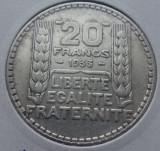(A422) MONEDA DIN ARGINT FRANTA - 20 FRANCS 1933, 20 GRAME, Europa
