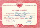 M8RH - DIPLOMA DE MERIT - LICEUL DE FETE - CRAIOVA - EMISA IN ANUL 1951