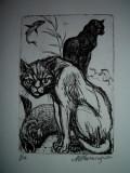 GRAVURA MARCEL CHIRNOAGA, 1, Animale, Cerneala, Realism