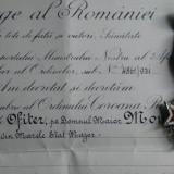 SUPERB LOT Ordinul COROANA ROMANIEI IN GRAD DE OFITER  + BREVET ACORDAT IN 1931