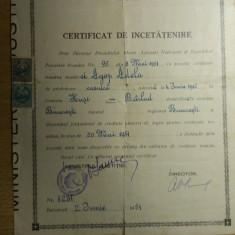 M8RH - CERTIFICAT DE INCETATENIRE - FISCALIZAT - EMIS IN ANUL 1951