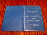 Carnet CFR vechi Elevi-Studenti 1939 stare buna-10/7cm.