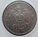 (A442) MONEDA DIN ARGINT GERMANIA - PRUSIA - 3 MARK 1912, LIT. A, WILHELM II