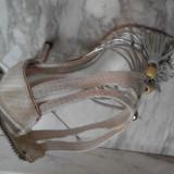 Sandale ciu toc cui, 35 1/3, Argintiu