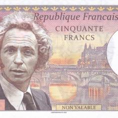 Bancnota Franta 50 Franci 2018 -  proba pe hartie cu filigran ( Pierre Richard )
