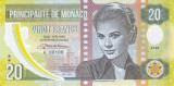 Bancnota Monaco 20 Franci 2018 - proba din polimer ( Grace Kelly )