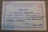 Diploma Cursurile Invatamantului Politico-Ideologic de Partid// 1979