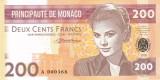 Bancnota Monaco 200 Franci 2018 - proba pe hartie cu filigran ( Grace Kelly )