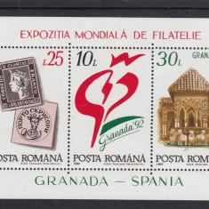 1992 LP 1283  EXPOZITIA MONDIALA  FILATELIE GRANADA - SPANIA  BLOC DANTELAT MNH