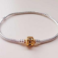 Bratara model PANDORA SILVER GOLD 18, 20 21cm placata argint + 2 TALISMANE CADOU, Femei