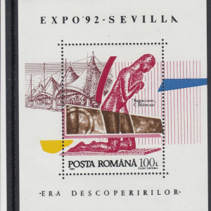 ROMANIA 1992   LP 1294  EXPO SEVILLA    COLITA   MNH