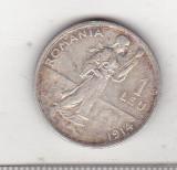 Bnk mnd sc Romania 1 leu 1914 Hamburg , muchie dreapta, Argint