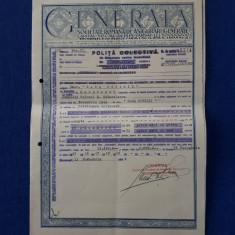 """Polita de asigurare """" Generala """" - 1944 - Onor.  """" Casa ostirii """""""